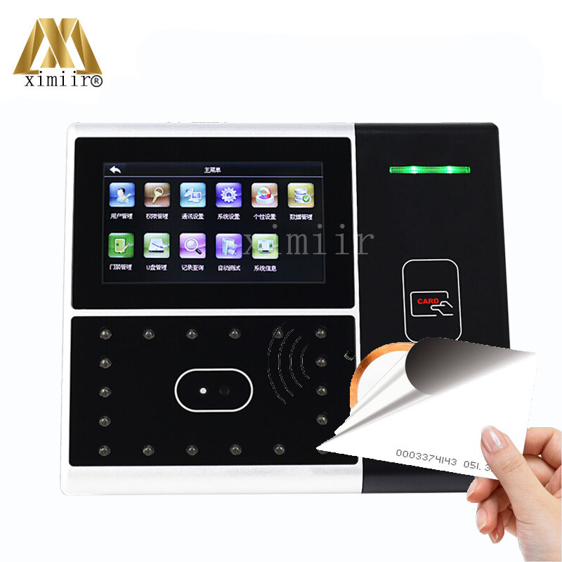Free Shipping RS232/485 Communication Infrared Camera 4.3''TFT Touch Screen Iface301 ID Card Face Card Time Attendance Machine