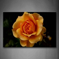 Framed Wall Art Pictures Yellow Orange Rose Canvas Print Flower Modern Posters With Wooden Frames For Living Room Decor