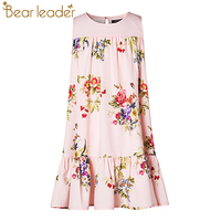 Bear Leader Girls Dress 2017 New Girls Dress European And American Style Flowers Printing Girls Dress