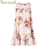 Bear Leader Girls Dress 2017 New Girls Dress European And American Style Flowers Printing Girls Dress