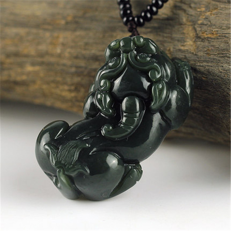100% Natural Dark Green HETIAN Jade QING Jade Pendant Hand-Carved PIXIU Pendant Round Necklace Fashion Men's Jade Jewelry