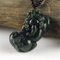100 Natural Dark Green HETIAN Jade QING Jade Pendant Hand Carved PIXIU Pendant Round Necklace Fashion