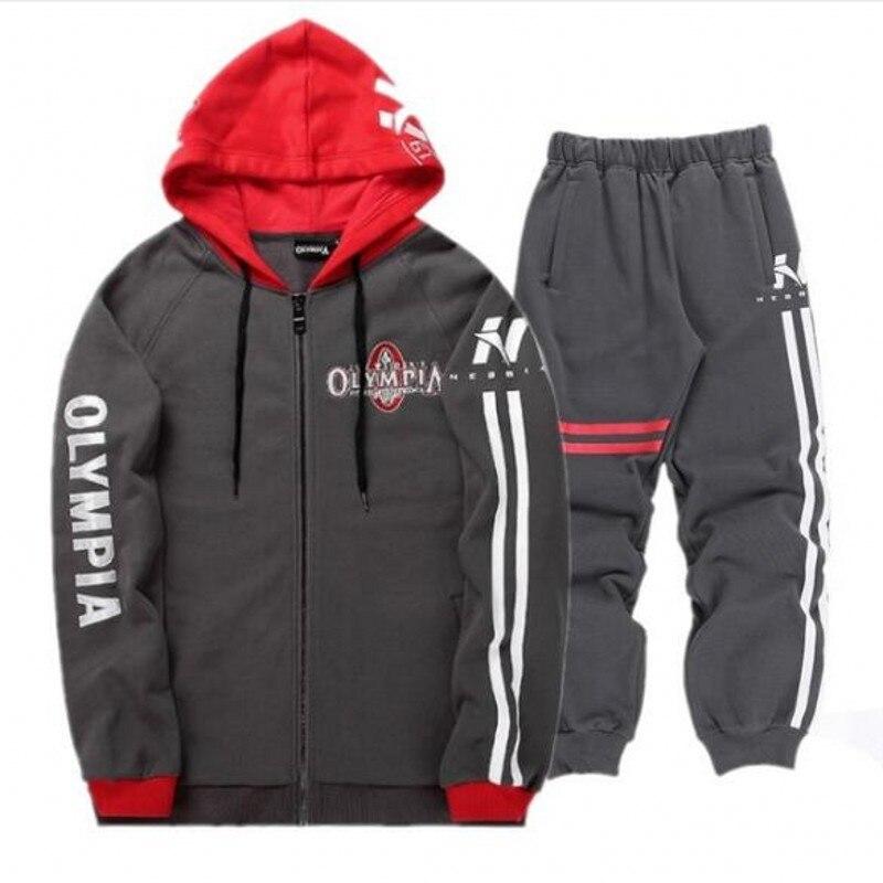 Sportswear Tracksuits Men Sets Running Gym Tracksuit Fitness Body building Mens Hoodies+Pants Jogger Sport Suit Men Clothing Set