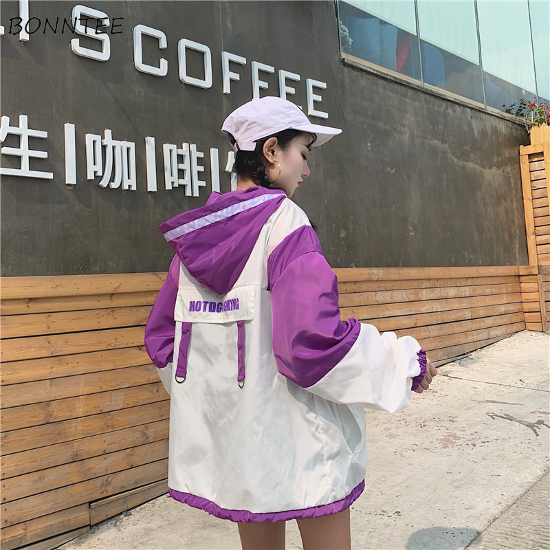 Jackets   Women Summer Loose Thin Lovely Harajuku Patchwork Students Zipper   Basic     Jacket   All-match Korean Style Womens Daily Chic