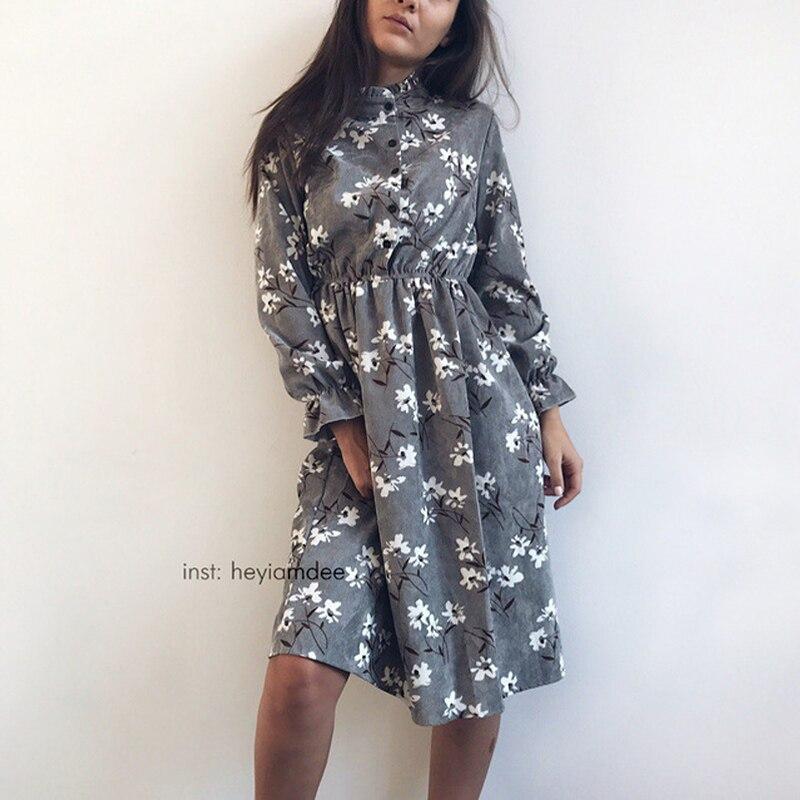 Cord Hohe Elastische Taille Vintage Kleid A-linie Stil Frauen Volle Hülse Blumen Plaid Print Kleider Schlank Feminino 18 Farben