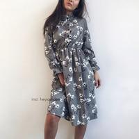 Corduroy High Elastic Waist Vintage Dress A Line Style Women Full Sleeve Flower Plaid Print Dresses