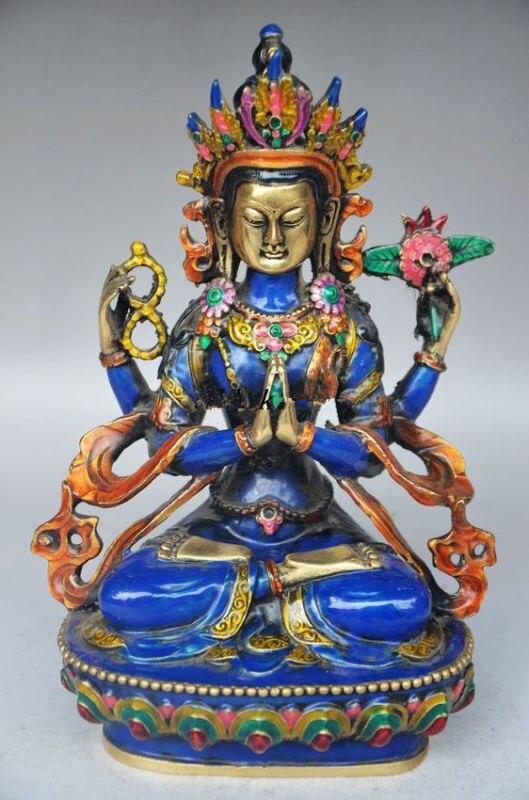 5.71 inch / Copper cloisonne handicrafts Tibetan Buddhism statue of the Buddha5.71 inch / Copper cloisonne handicrafts Tibetan Buddhism statue of the Buddha
