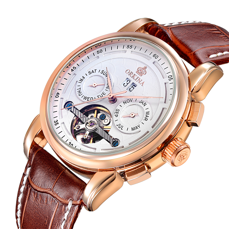 Fashion Luxury Tourbillon Design Waterproof Mens Watches Top Brand Luxury Mechanical Skeleton Watch Rose Gold Case New