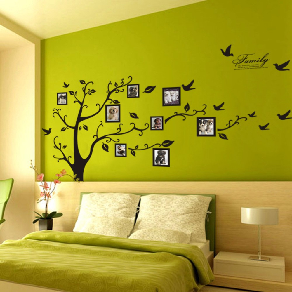 Image 3 - Large 200*250Cm/79*99in Black 3D DIY Photo Tree PVC Wall Decals/Adhesive Family Wall Stickers Mural Art Home Decor-in Wall Stickers from Home & Garden