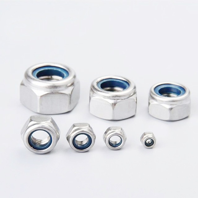pack of 10 pieces external hexagon stainless steel nuts hex nylon insert M3 M4 M5 M6 M8 M10 M12 M14 M16