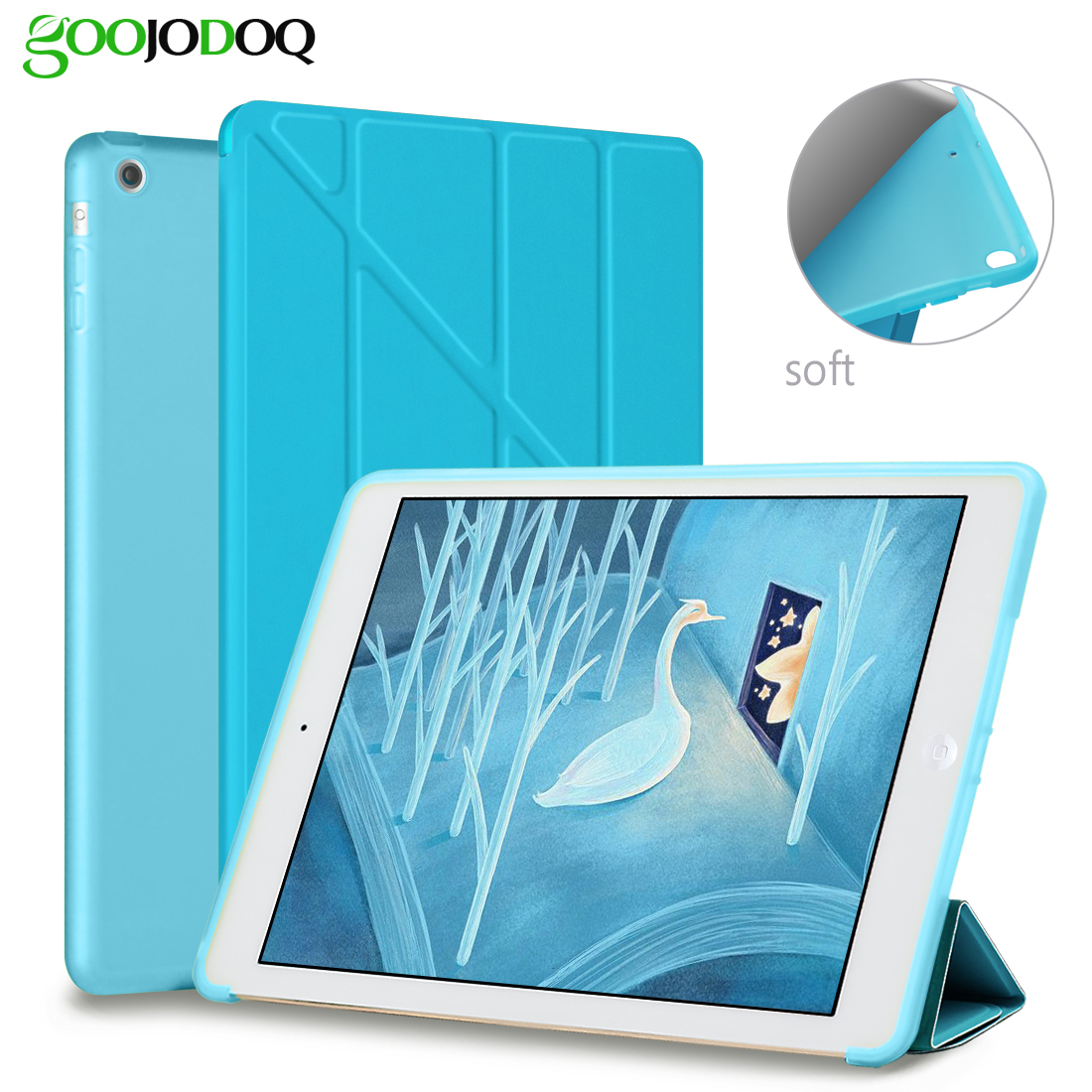 For iPad Air Case Soft, Smart Cover with Silicone Soft Back Case [Multiple-angle Stand] Auto Wake for Apple iPad Air 1 / 5 Cover nice soft silicone back magnetic smart pu leather case for apple 2017 ipad air 1 cover new slim thin flip tpu protective case
