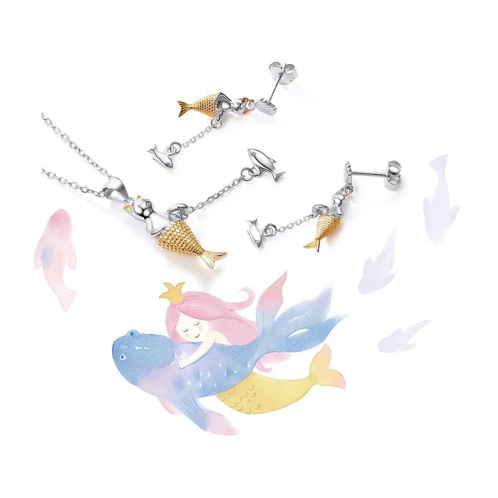 U7 925 סטרלינג תכשיטי כסף סטי בת ים דגי שרשרת עגילי סט לנשים בנות יומי ללבוש אביזרי המפלגה תכשיטים