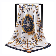 New Arrival Fashion Women soft satin brand scarf / Key Printed quare silk scarves 90cm Gifts Wholesale