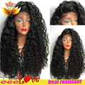 180% density afro kinky curly hair wig high quality cheap synthetic lace front wig kinky curly synthetic wigs for black women