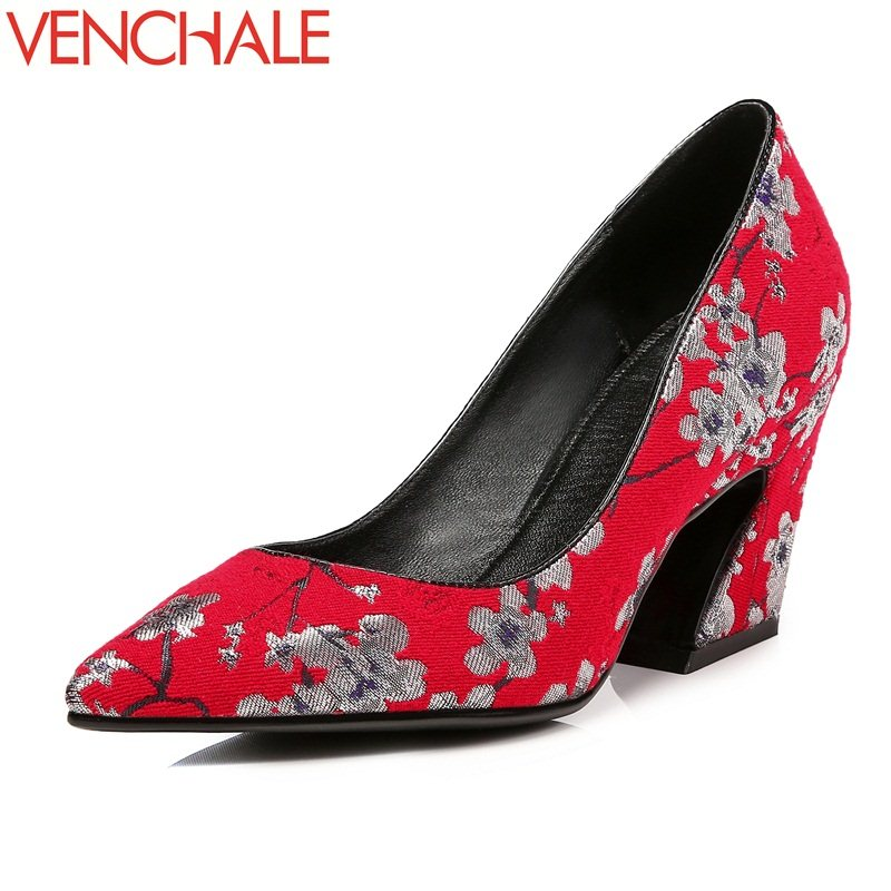 VENCHALE 2018 shallow zapatos mujer vrouw flower embossing unique high heels shoes sheepskin pointed toe female woman pumps venchale two heels options sheepskin