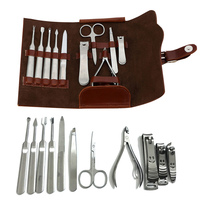 2018 Nuovo 11 Pz In Acciaio Inox Pedicure Scissor Pinze Cutter Clipper File Earpick Manicure Set Con PU Bag Kit di Cura del Chiodo HB88