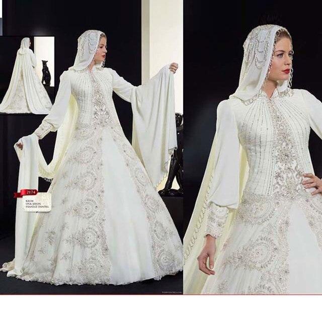 Luxus Arabisch Kaftan Hochzeit Kleid 2017 mit HiJab Brautkleider ...