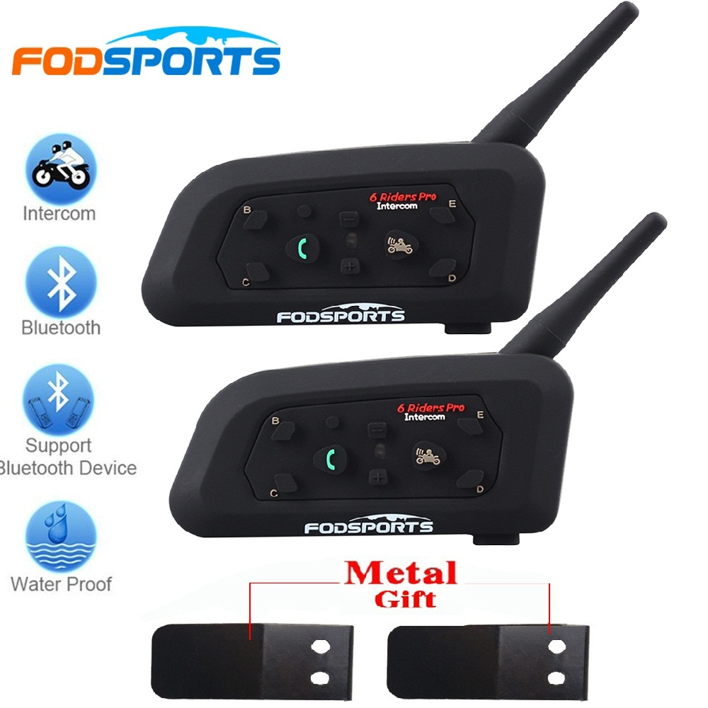 2017 Fodsports 2 pcs V6 Pro Motorcycle Helmet Bluetooth Headset Intercom 6 Riders 1200M Wireless Intercomunicador BT Interphone 2pcs bt s2 intercom 1000m motorcycle helmet bluetooth wireless waterproof headset intercom earphone 2 riders interphone fm radio