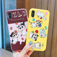 Cartoon Cute Crayon Shin-chan Family Case for iphone X Xs MAX Xr 6 6splus 7 8plus back cover happy Soft silicon IMD phone cases