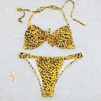 Sexy Bow Tie Bandeau Bikinis 2018 Mujer Bandage Brazilian Bikini Set Leopard Swimwear Women Swimsuit Beachwear