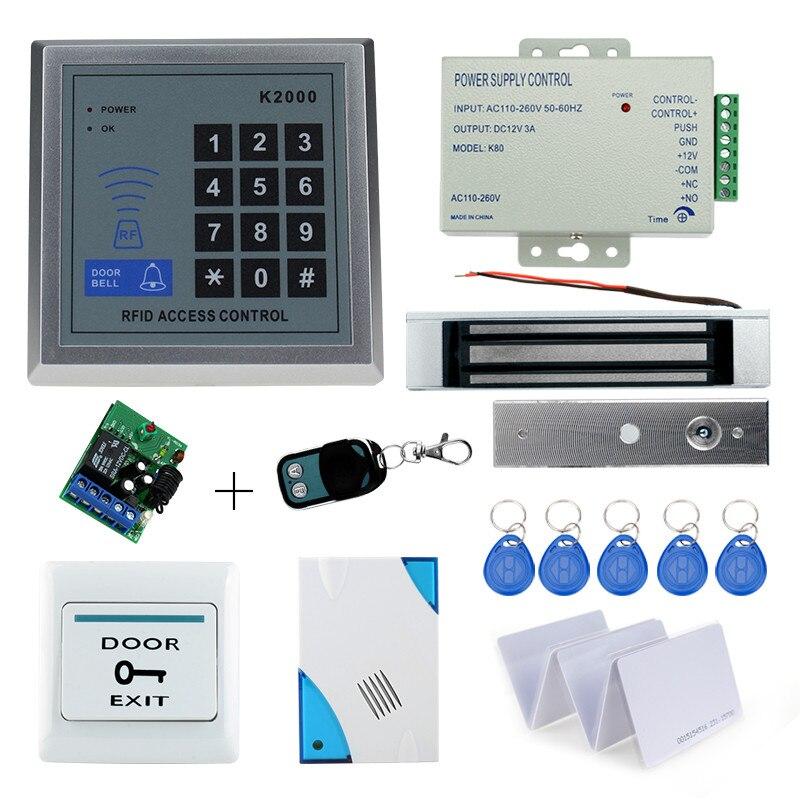 diy kit door access control code door lock system with 180KG electric lock+power supply+exit button+door bell+remote control