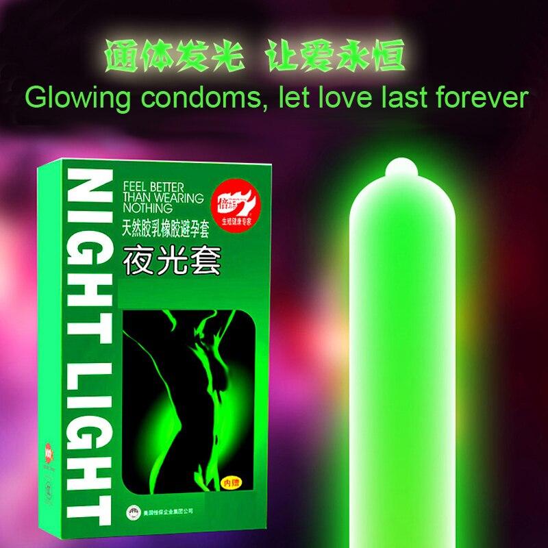 3pcs Luminous Condoms + 4pcs Ultra Thin Condoms Fluorescence Special Condoms Night Light Glowing Condom Sex Toys Penis Extender