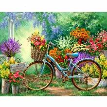5D DIY Diamond Stickers Deco Painting  Embroidery Full Square Diamond Flowers&Bicycles Cross Stitch Rhinestone Mosaic Paint gift
