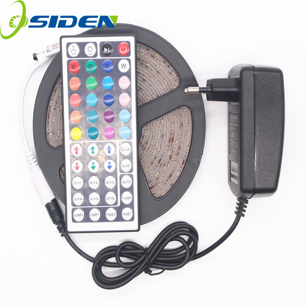 OSIDEN 5M 2835 300Leds Led Strip Strip Light DC12V 60Leds / M Fiexble Light Cinta de cinta Led decoración del hogar + 44key + 2A adaptador