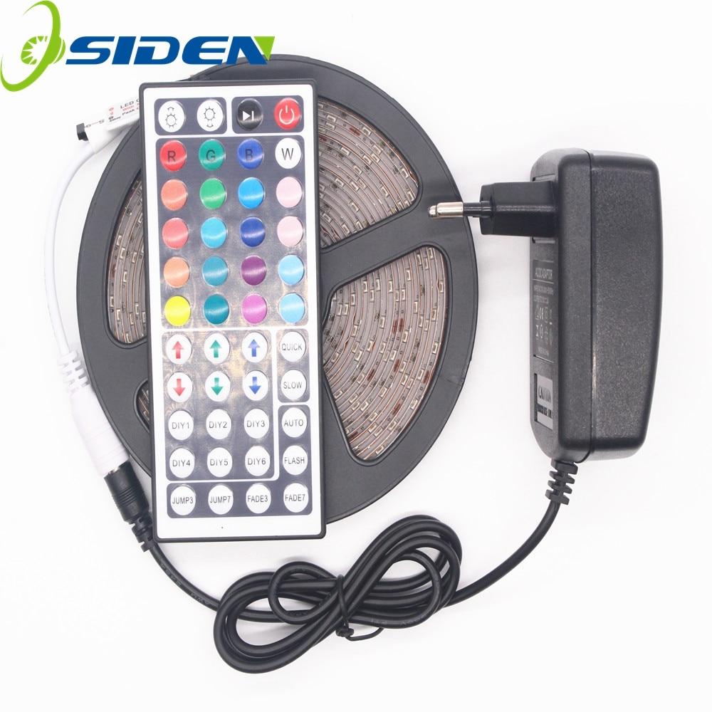 OSIDEN 5M 2835 300Leds Waterproof Led Strip Light DC12V 60Leds/M Fiexble Light Led Ribbon Tape Home Decoration +44key+2A Adapter