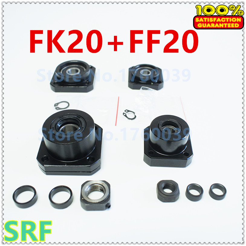Ballscrew Support set:1pcs FK20 Fixed Side+1pcs FF20 Floated Side for 25mm Ballscrew SFU2505 SFU2510 end support CNC 2sets fixed side fk20 floated side ff20 ball screw end supports