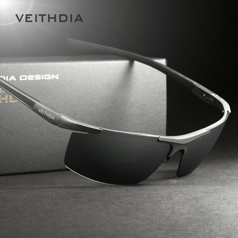 VEITHDIA 2017 Aluminium Magnesium Sonnenbrille Polarisierte Männer halbrandlose Beschichtung Spiegel Sonnenbrille Männlich Brillen Zubehör 6588
