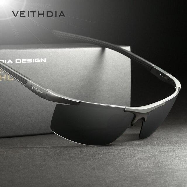10db156d43 VEITHDIA 2017 Aluminum Magnesium Sunglasses Polarized Men Semi rimless  Coating Mirror Sun Glasses Male Eyewear Accessories 6588