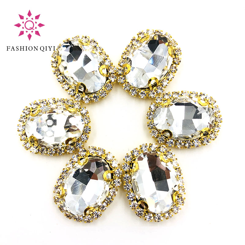 Aliexpress Com Buy 1440pcs Gold Bottom Crystal Clear: 10pcs/pack Clear White Oval Shape Sew On Rhinestones