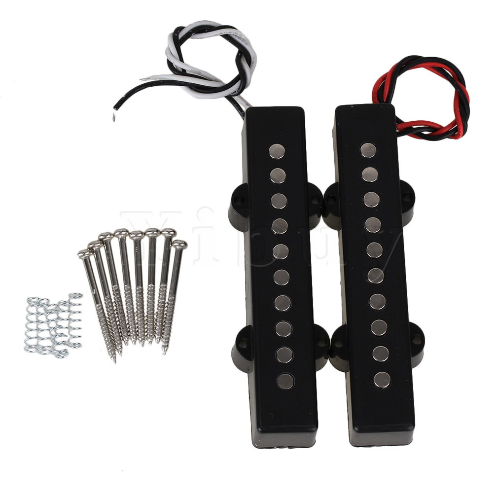 Yibuy 2 Pieces Noiseless Open Single Coil Pickup For 5 String Electric JB Bass