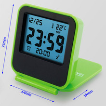 Mini LED Luminous Thermometer Humidity Hygrometer Bedside Wake Digital Projection Portable Travel Folding Electronic Alarm Clock