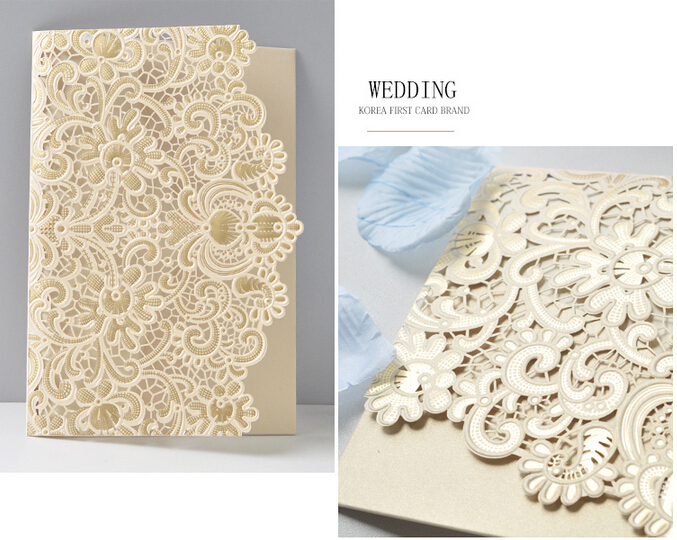 white gold red wedding favor embossed flower wedding invitation cardno inside paperno envelope with fedex 300pcs 2017 new in cards invitations from home - White And Gold Wedding Invitations