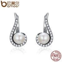BAMOER Genuine 100 925 Sterling Silver Romantic Melody Round Stud Earrings Women Vintage Party Earrings Jewelry