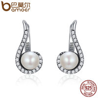 BAMOER Genuine 100 925 Sterling Silver Romantic Melody Round Stud Earrings Women Vintage Party Earrings Jewelry