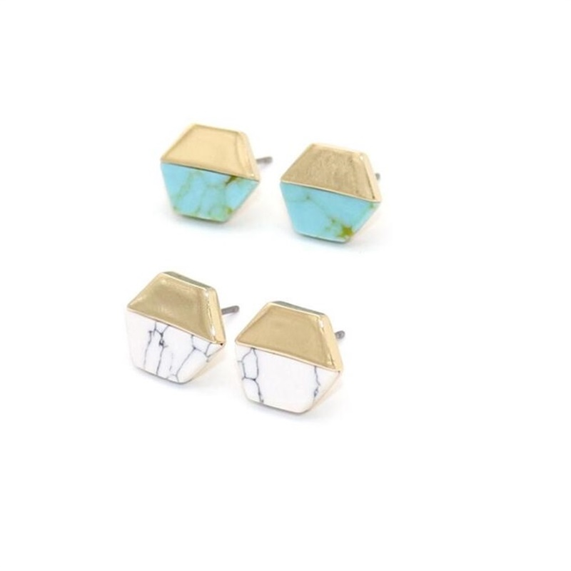 Hexagon White Green Marble Natural Stone Stud Earrings Gold Color Brincos Pendientes Jewelry for Women image