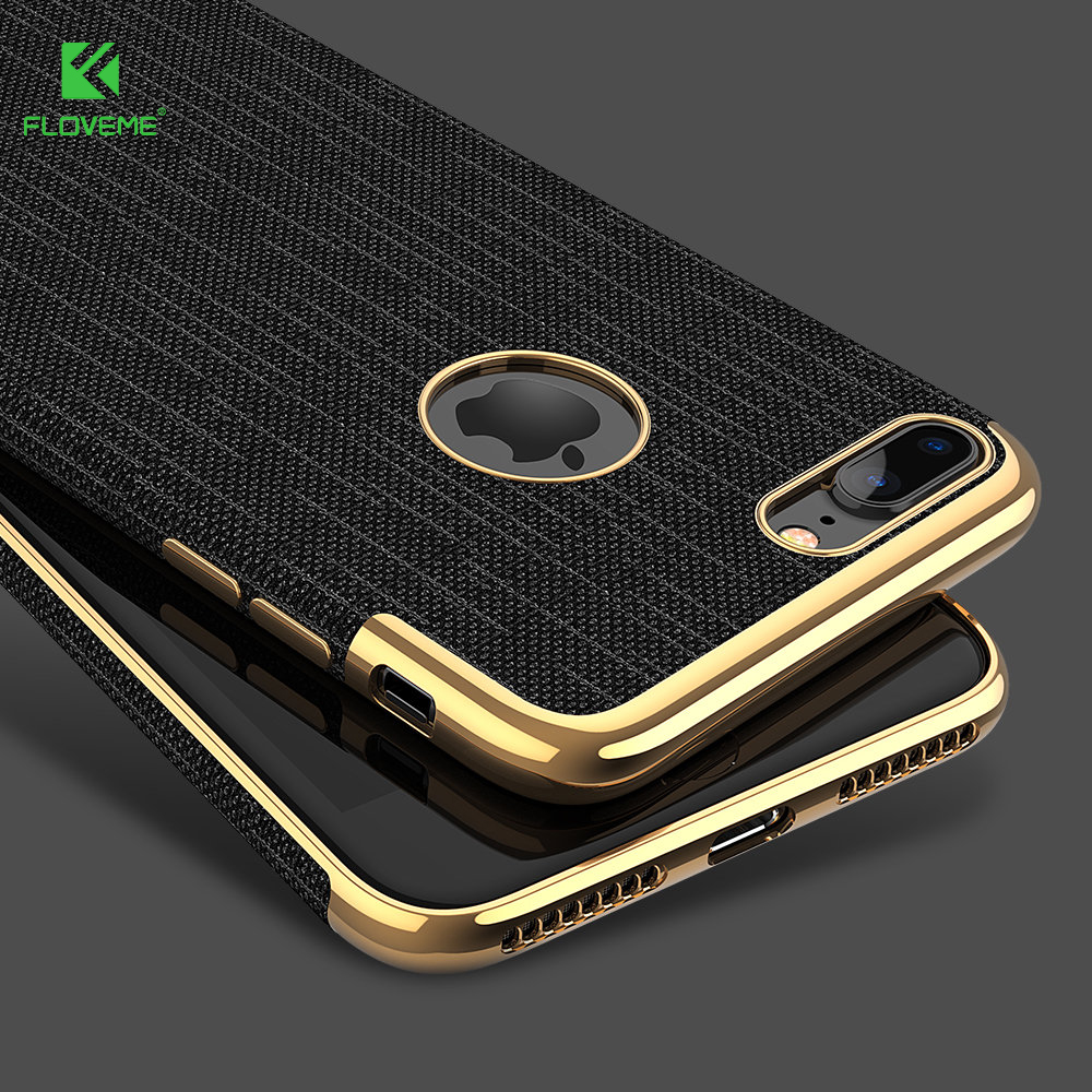 floveme luxury plating soft cases for iphone 7 7 plus gold black thin back phone case for apple. Black Bedroom Furniture Sets. Home Design Ideas