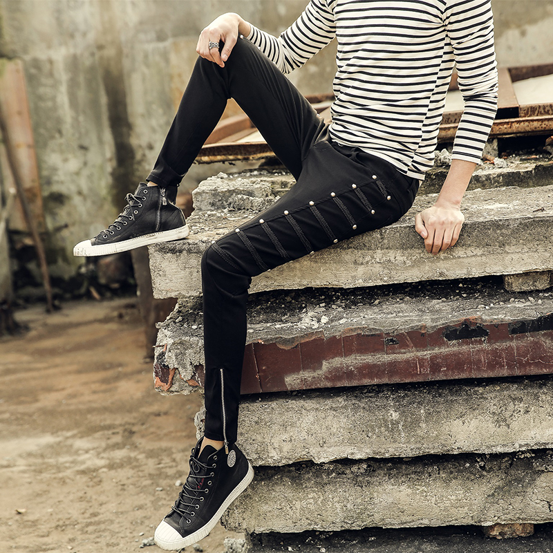 Hot 2017 new Personality trend of the tight-fitting pencil pants male elastic skinny pants Men casual pants slim trousers 28-33 grey 2015 spring male personality splice skinny pants the trend straight trousers slim long trousers thin men skinny jeans