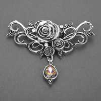 Dongsheng Vintage Silber Vampire Broschen Pins Gothic Rose Blume Schmuck für Frauen Brosche Kristall Revers Pins Halloween Geschenk-40