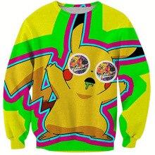 2016 new arrival Autumn Winter Men Women Hoodie Brand Clothing 3D Printing Pikachu Sweatshirt Funny Printed Cartoon Hoodie S-6XL