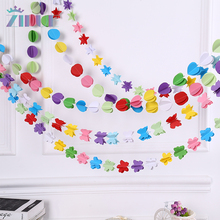 Colorful Hanging Paper Garlands Flora String Wedding Party Birthday Baby Decoration Round Shape New