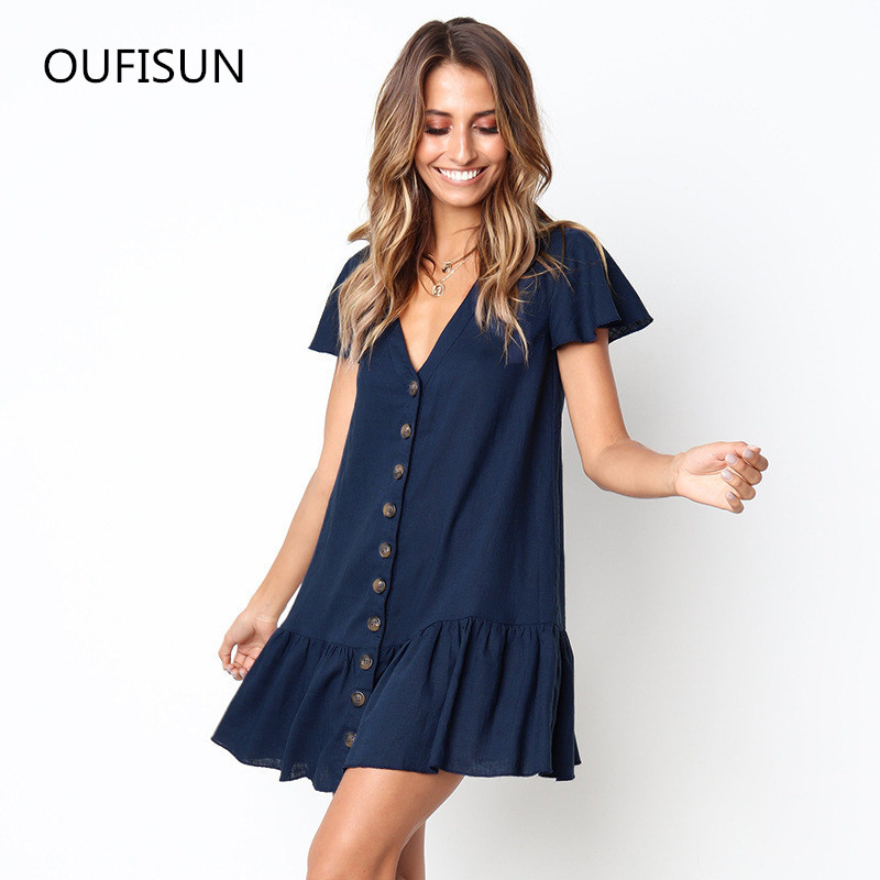 Solid Causal Mini <font><b>Dress</b></font> <font><b>Sexy</b></font> <font><b>V</b></font> <font><b>Neck</b></font> Short Sleeve Ruffle Buttons Women 2020 Summer Beach <font><b>Dress</b></font> Cotton White <font><b>Dress</b></font> Female Vestidos image