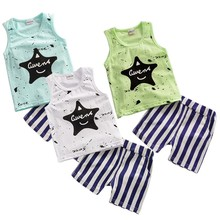 Cartoon Summer Baby Boy Clothing Set Tank Vest Top + Striped Shorts Kid Boy Summer Sleeveless Set Children Boy Clothes Set A