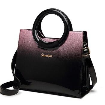 有名なブランドの高級ハンドバッグデザイナー品質パテントレザーメッセンジャーバッグシンプルなボックスショルダーバッグの女性オフィスワークトート