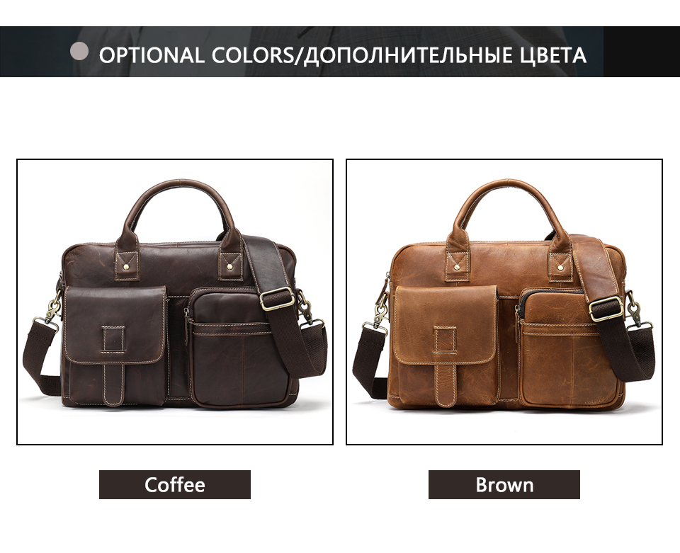four pictures showing different angles of a leather briefcase