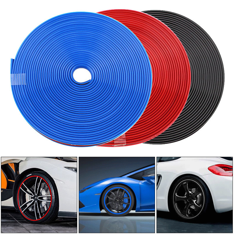 8M PVC Car Wheel Protector Hub Sticker Rim Guard Rubber Strip Anti Scraping Auto Car Decorative Styling For 13 ~ 22 Inch Ti
