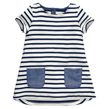 1-6 Years Baby Girls Dress 2018 New Blue Stripe Summer Dresses Cotton Casual Long Tops Kids Clothing KF047